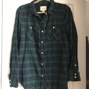 Green and Blue Plaid flannel button down
